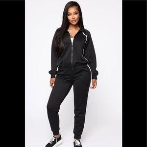 Fashion Nova Olympian Track Pants Size L Black